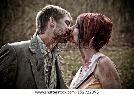 Kissing Zombies - stock photo