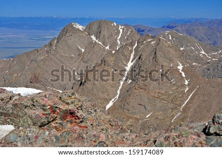 "Kit Carson Peak showing the classic ""Kit Carson Avenue"", Sangre de Cristo Range, Rocky Mountains, Colorado - stock photo"