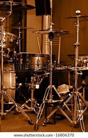 kit drum gilded colour on scene - stock photo