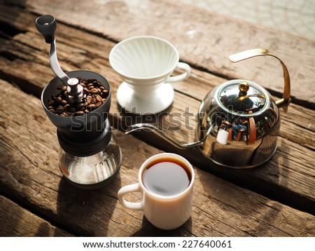 Kit for making drip coffee in vintage color tone - stock photo