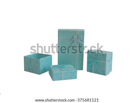 Kit of gifts boxes isolated on white background