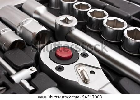kit of metallic tools as background - stock photo