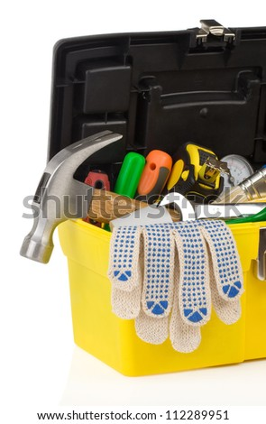 kit of tools and box  isolated on white background - stock photo