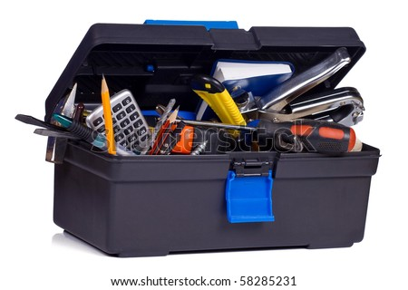 kit of tools in black box - stock photo