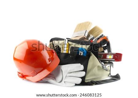 kit of tools isolated on white background - stock photo