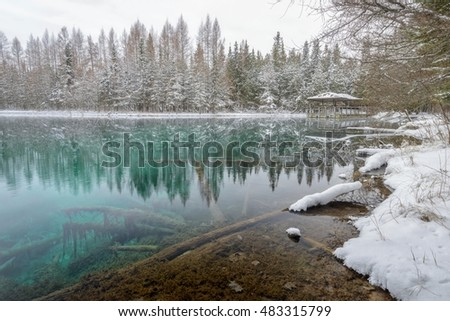 Kitch-iti-Kipi, Big Spring. Fresh snow in the forest along the banks of a beautiful blue water spring in Michigan's Upper Peninsula.