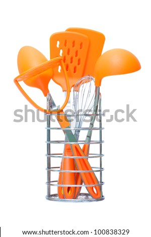 Kitchen Accessories. Isolated on white background - stock photo