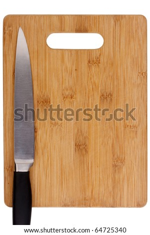 Kitchen accessories knife and wooden cutting board.