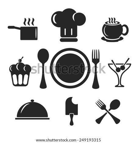 Kitchen and cook web and mobile logo icons isolated on white back. Symbols of cocktail, cake, toques, ice cream, spoon, fork, plate, coffee, cup, pan