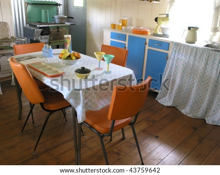 Kitchen and dining from a 1960's Australian house - stock photo
