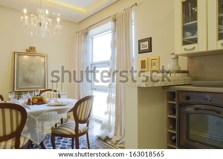 Kitchen and dinning room interior