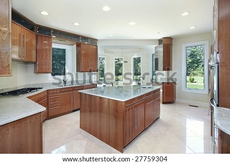 Kitchen and island in new construction home