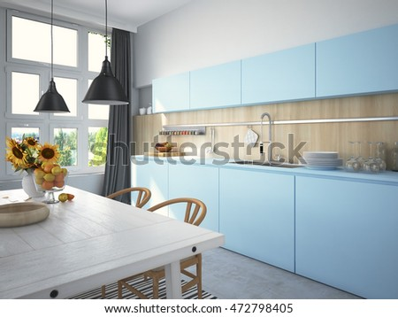 Kitchen and living room in loft apartment. 3d rendering