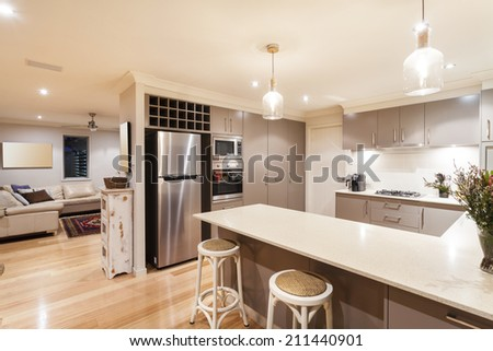 Kitchen and living room in modern home