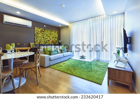 Kitchen And Living Room With Big Window Interior