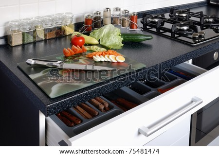 kitchen and vegetables - stock photo