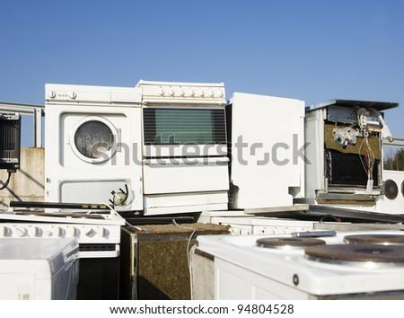 Kitchen Appliance Garbage towards blue sky - stock photo
