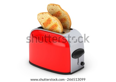 Kitchen Appliance. Toast popping out of Vintage Red Toaster on a white background - stock photo