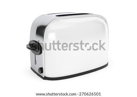 Kitchen Appliance. Vintage White Toaster on a white background - stock photo