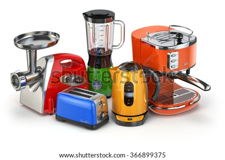 Kitchen appliances. Blender, toaster, coffee machine, meat ginder and kettle isolated on white. 3d - stock photo