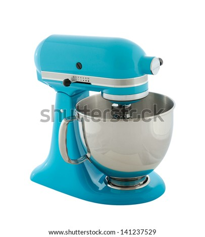 Kitchen appliances - blue planetary mixer, isolated on a white background - stock photo