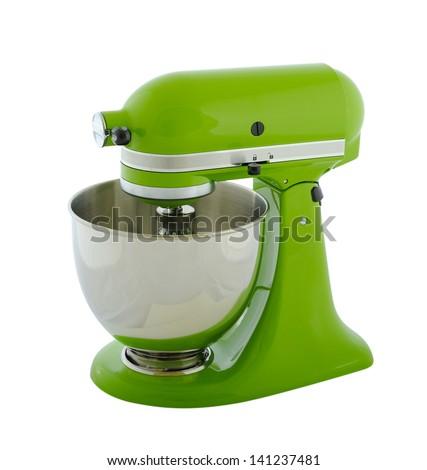 Kitchen appliances - green planetary mixer, isolated on a white background - stock photo