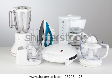 Kitchen Appliances on a neutral background - stock photo