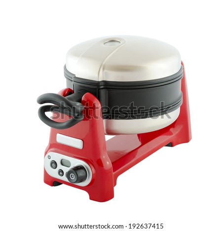 Kitchen appliances - red waffle-iron, isolated on a white background - stock photo