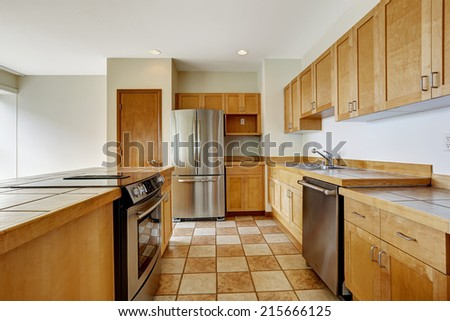 Kitchen area in studio. Down town of Seattle