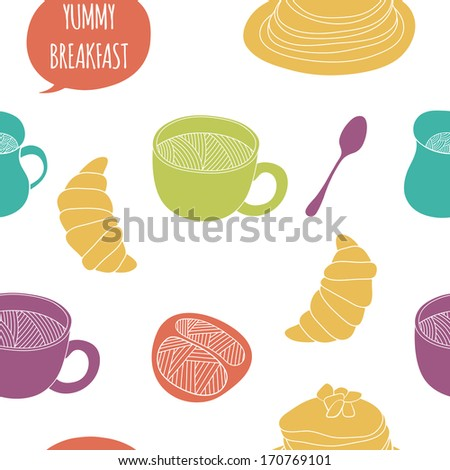 Kitchen background. Cute colorful seamless pattern for backgrounds, fabric, kitchen and cafe stuff - stock photo
