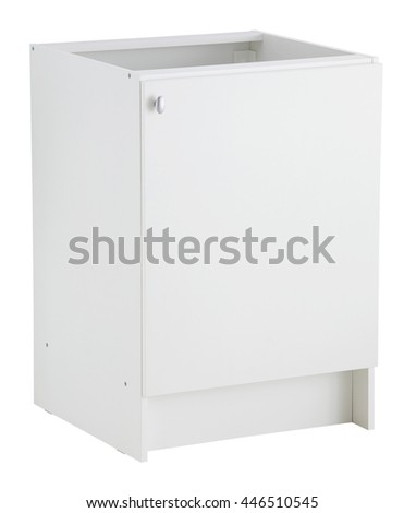 Kitchen base cabinet isolated on white background. Include clipping path.