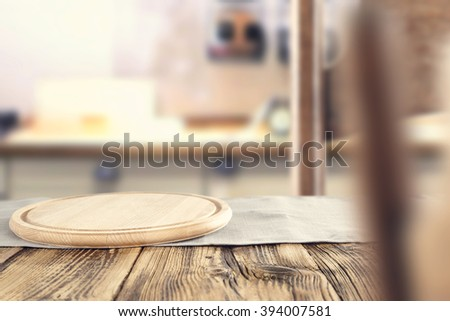 kitchen blurred background and blurred chairs decoration with yellow kitchen table