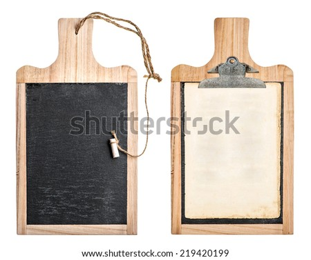 kitchen board with chalkboard and clipboard for your text and recipe isolated on white background - stock photo