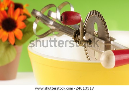 Kitchen bowl and mixer in old fashioned setting - stock photo