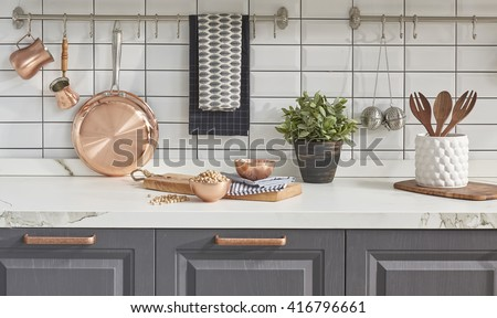 Kitchen Brass Utensils Chef Accessories Hanging Stock Photo Royalty - Grey copper kitchen