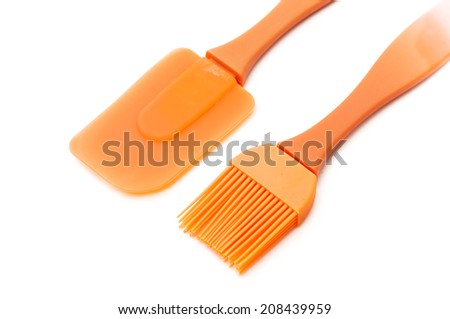 kitchen brushes on a white background - stock photo