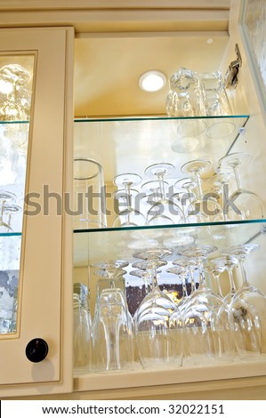 Kitchen Cabinet Close Glass Shelves Glasses Stock Photo ...