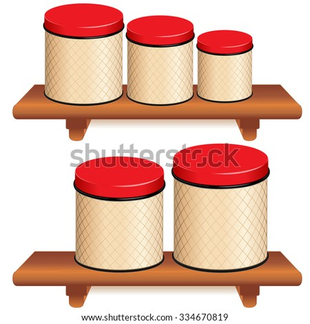 Kitchen Canister Set, five food storage tins with lattice design and red lids in small, medium and large sizes on wood shelves, copy space,  Isolated on white background.  - stock photo