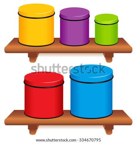 Kitchen Canisters, five multi color food storage tins with lids in small,  medium and large sizes on wood shelves, copy space. Isolated on white background.  - stock photo