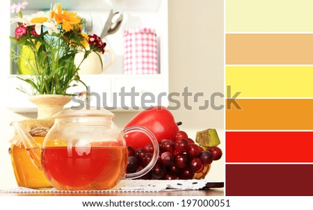 Kitchen composition. Color palette with complimentary swatches - stock photo