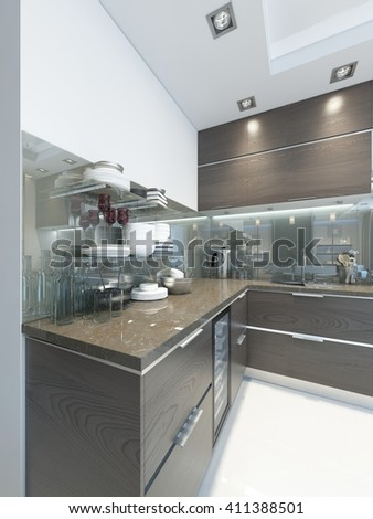 Kitchen-Contemporary in brown with white walls and marble floors. 3D render.