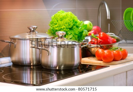 Kitchen Cooking closeup.Diet - stock photo