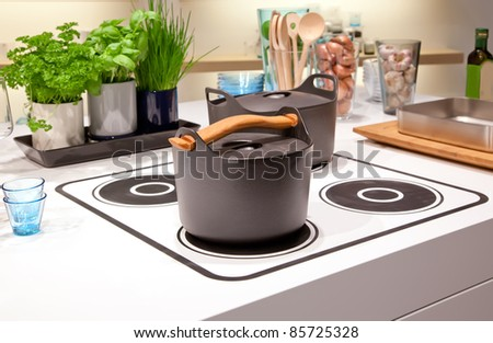 kitchen cooking plate - stock photo