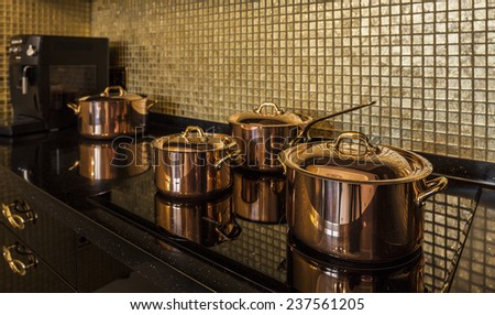 kitchen copper utensils Interior of modern - stock photo