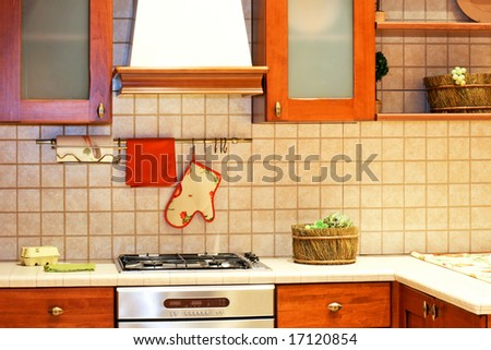 Kitchen counter in country style with gas stove - stock photo