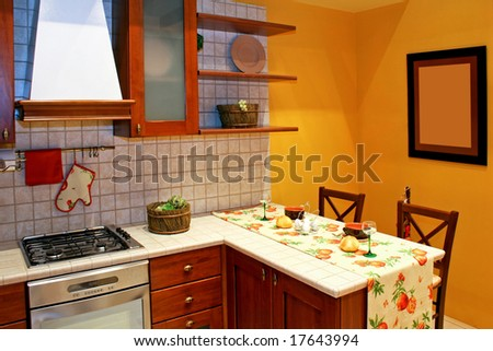 Kitchen countertop in country style with gas stove - stock photo