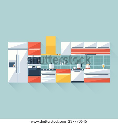 Kitchen Cover with Fridge, Stove, Dishwasher, Toaster and Microwave. Flat Style With Long Shadows. Modern Trendy Design. Raster Copy. - stock photo