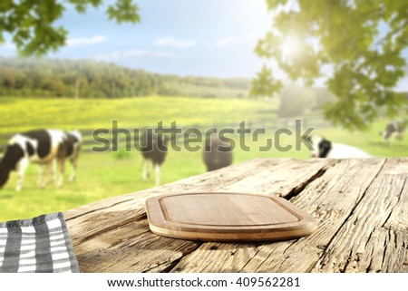 kitchen desk and wooden space and green grass  - stock photo