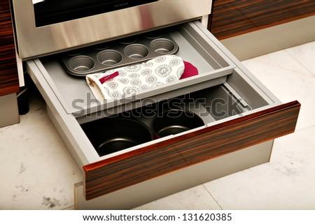 Kitchen drawers - stock photo
