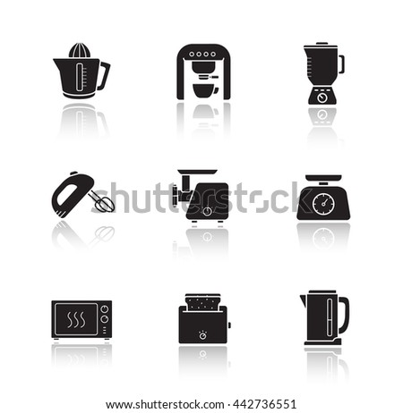 Kitchen electronics drop shadow icons set. Kitchenware electric appliances items. Consumer household cooking devices. Microwave oven, blender and mixer black illustrations isolated on white. Raster